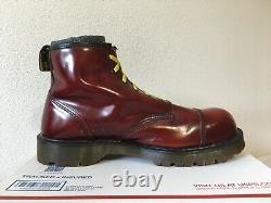 90's Steel Toe Dr. Martens 6-eye 13 boots MIE oxblood cherry red 7713 shoes 1919