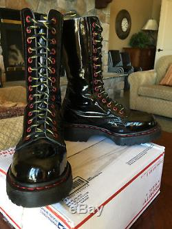 90s Dr Martens Steel Toe Patent Boots US 6 crazybomb cybergoth jadon 14-eye 1914