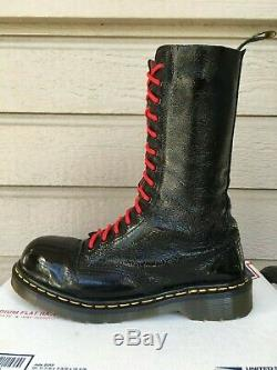 90s Vintage Dr Martens 14-eye Patent Leather Steel Toe boots US 8 doc shoes 1940