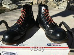 90s Vintage Dr Martens Steel Toe Boots US 10 AirWair MIE solovair tower cap 1460