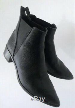 Acne Studios Jensen Ankle Boots Stacked Heel. Black Grain Leather. Size 37
