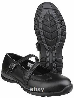 Amblers FS55 Safety Steel Toe Cap Shoes Womens Leather Buckle Strap UK3-9