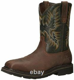 Ariat Mens Sierra Wide Leather Steel toe Pull On Safety Shoes, Brown, Size 12.0