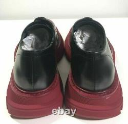 Brand-new Men's Alexander McQueen Black/Red Leather Cap-Toe Derby Shoes in US 9