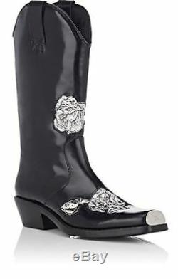 CALVIN KLEIN 205W39NYC Metal-Inset Spazzolato Black Leather Cowboy Boots $1,495