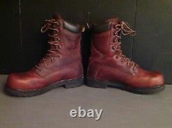 Carhartt Mens mahogany Brown Leather Steel Toe Work Boots Shoes size 9 logger