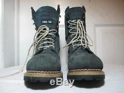 Cat Caterpillar Womens Navy Suede/leather Steel Toe Logger Work Boots Sz Us 8