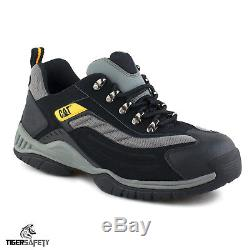 Caterpillar CAT Moor SB SRA Mens Black Silver Steel Toe Cap Safety Trainers PPE