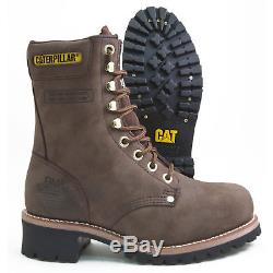 Caterpillar Logger P88034 Chocolate Brown Leather Steel Toe Waterproof Work Boot