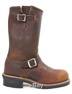 Chippewa 1901M05 Tan Leather Steel Toe Harness Motorcycle Boot Made In USA