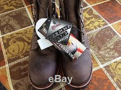 Chippewa Men's 6in Chocolate Apache Lace Up Boot, Steel Toe Size 9D