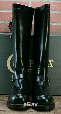Chippewa Men's Steel Toe 71418 USA-Made Black Leather Motorcycle Boots 10.5 D