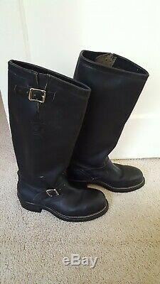 Chippewa Tall Black Leather Motorcycle Buckle Mens Boots 27909,8e, Steel Toe, USA