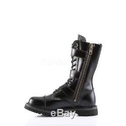 Demonia 12 eye Leather Steel Toe Buckle 3-Strap Calf Boots Goth Punk Men's 4-14