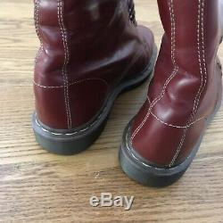 Doc Dr Martens Boots 1914 Smooth Leather Oxblood Red 14 Eye Calf High Sz 10.5-11