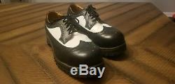 Doc Martens Getta Grip Wing Tip Steel Toe Shoes Black and White US Mens 10
