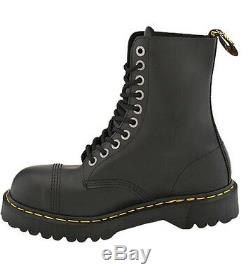 Dr. Martens 10 Eye Black Fine Haircell Steel Toe Boots With Black Sole Size 6 Mens