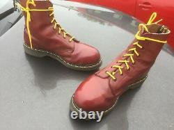 Dr Martens cherry red leather steel toe boots UK 10 EU 45 Made in England