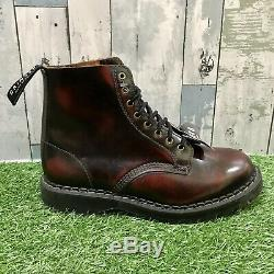 Grinders Made In England Burgundy Brown Leather Boots Steel Toe Shoes Size 9