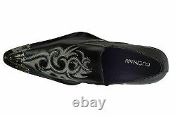 Gucinari Sayer Black Leather Men Classic Shoes White Pointed Steel Cap Toe