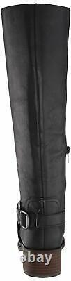 Lucky Brand Women's Shoes Karesi Leather Closed Toe Knee High, Black, Size 7.5
