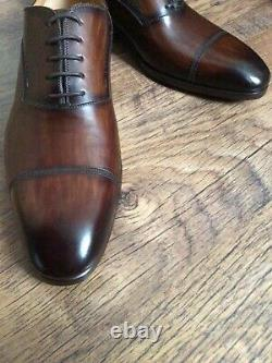 Magnanni Men's Shoes UK 11 Brown Cap Toe Leather Oxford Lace Up Brand New