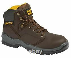 Mens Caterpillar Leather Water Resistant Safety Steel Toe Ankle Work Boots Shoes