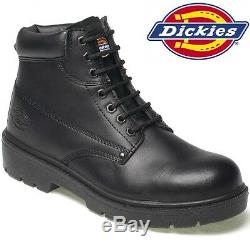 Mens Dickies Black Leather Waterproof Shoes Safety Steel Toe Cap Work Boots Sz