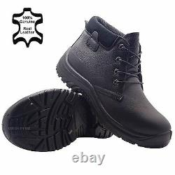 Mens Leather Lightweight Black Safety Steel Toe Cap Work Boots Trainers Shoes Sz