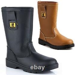 Mens Leather Safety Steel Toe Cap Rigger Boot Pull On Work Wellies Shoes Size UK