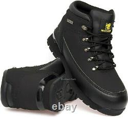 Mens Leather Safety Work Boots Steel Toe Cap Ankle Black Shoes Ppe Trainers Size