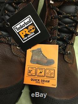 NEW Timberland PRO Series Quick Draw Steel Toe Men's Boots Size 9.5 Brown 89667