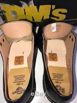 New DMs Dr. Martens 1925 Black Fine Haircell Steel Toe Cap Shoes Sz UK8 England