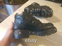 New Rock Reactor Black Leather Biker Gothic Boot shoes 9.5 10 Made in Spain 44