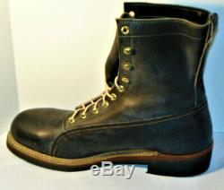 Nos Vintage Men's Knapp Leather 8 Black Work Boots! Steel Toe! Made In USA 10d