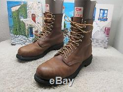 Red Wing Shoe 8 Boots Sz 9.5 Brown Leather Steel Toe Engineer Biker Vintage USA
