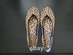 Rothy's Cheetah Round Toe Flats Red Heel Stripe Shoes Size 10 BRAND NEW