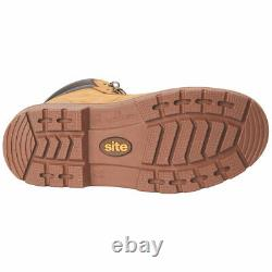 Site Womens Safety Work Boots Nubuck Wide Fit Steel Toe Brown Shoes All Sizes