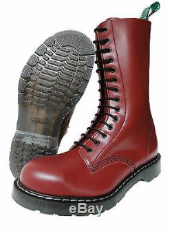 Solovair NPS Hand Made in England Cherry Red Steel Toe Boots Stiefel Kirschrot