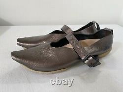 TRIPPEN Pointy-Toe Mary Jane Leather Cup Shoes 39 US 8-8.5 Metallic Steel