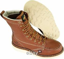 Thorogood Shoes Mens 8 moc toe wedge Steel toe, Tobacco Oil-tanned, Size 9.0