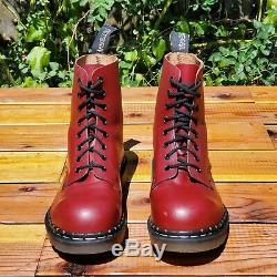 Tredair England Rare Vintage Cherry Red Leather Steel Toe Boots UK 7 US 8