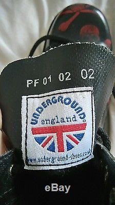UnderGround Shoes England. Size Six. Boots. Skulls. Black. Red. Steel Toe Cap