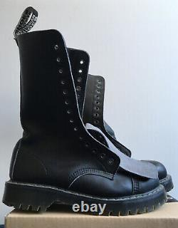 Unisex Airseal 14 Eye Boots Steel Toe (black) By Vegetarian Shoes. Uk Size 7