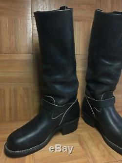 VTG WESCO Engineer Motorcycle Tall Black Aged Leather Mens Boots 9 Steel Toe