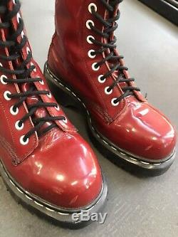 Vintage 90s Dr Martens Red Patent Leather Steel Toe Aggy Style 14 Hole Boots 6