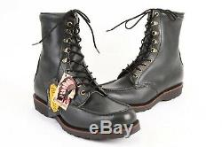 Vintage CHIPPEWA # 26310 8 IN BLACK FOREST Moc Toe Leather Boots NIB Size 12 D