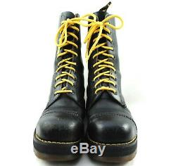 Vintage Doc DR. MARTENS Black Leather Steel Toe Platform Combat Boots UK 5 /US 7