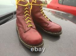 Vintage Dr Martens cherry red leather steel toe boots UK 10 EU 45 Made England