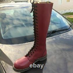 Vintage Dr Martens oxblood leather boots steel toes UK 10 EU 45 Made in England